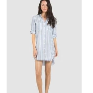 Anthro / Cloth + Stone Raw Hem Striped Shirt Dress